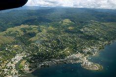 Aerial view of Honiara, capital of the Solomon Islands Solomon Islands, Vanuatu, Papua New Guinea, Fiji, Pacific Ocean, Aerial View, Time Travel, Places Ive Been, River