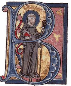 Anónimo, San Bernardo de Claraval, Inicial de la letra B en un manuscrito del Siglo XIII.