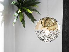 Pyöreä kultainen kattovalaisin PADMA_695111 Retro Aesthetic, Beliani, Light, Metal Pendant Light, Lighting, Ceiling Lamp, Industrial Decor, Glass Lamp, Modern Lamp