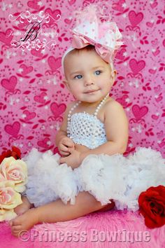 Boutique Hearts and Love Baby Headband Bow