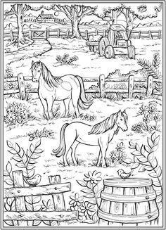 Farm Scene with horses in pasture fence tractor trees plants house -Country Living Coloring Page Farm Coloring Pages, Pattern Coloring Pages, Animal Coloring Pages, Coloring Pages To Print, Printable Coloring Pages, Coloring Pages For Kids, Coloring Sheets, Creative Haven Coloring Books, Colorful Drawings