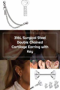 Double Cartilage Piercing 316L Surgical Steel Double Chained Cartilage Earring with Key Double Cartilage Piercing Double Cartilage Piercing, Cartilage Earrings, Ear Piercings, Helix Hoop, Christina Aguilera, Key, Steel, Unique Key, Earrings