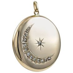 Large Antique Moon and Star Rose Gold and Diamond Locket | From a unique collection of vintage more jewelry at https://www.1stdibs.com/jewelry/more-jewelry-watches/more-jewelry/