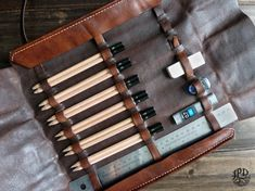 Leather Pencil Case Custom Drawing Kit Personalized by JPDco