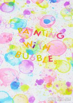 This fun activity for kids uses colorful bubbles as paint! Kids will love using straws and other creative ways to paint with bubbles. Fun, imaginative art for spring and summer! Bubble Painting, Bubble Art, Painting For Kids, Art For Kids, Painting Art, Kid Art, Bubble Activities, Painting Activities, Summer Activities For Kids