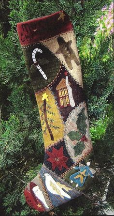 primitive wool applique patterns | discovered : Primitive Folk Art Wool Applique Pattern: Crazy Wool ...