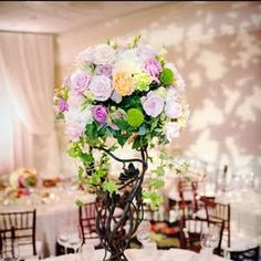 Birch Branch and Pastel Colored Centerpiece