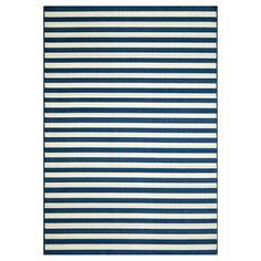 Indoor/Outdoor Navy Striped Rug (8'6 x 13') $296 overstock