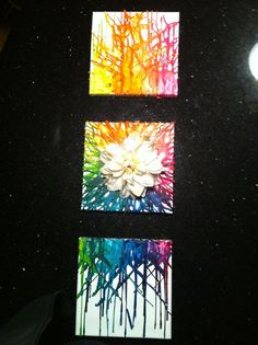 Melted crayon artwork I did for Fallon's room; I LOVE th middle picture with the flowerr on it!<3