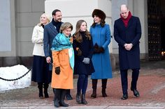 A royal walkabout: Kate and William are joined by (L-R) Crown Princess Mette-Marit, Crown Prince Haakon, Queen Sonja and PrincessIngrid Alexandra after dining at the Royal Palace for a stroll around its grounds