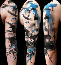 realistic_trash_polka by Buena Vista Tattoo - Würzburg Trash Polka Tattoos, Tattoo Trash, Totenkopf Tattoo Arm, Future Tattoos, Tattoos For Guys, Buena Vista Tattoo, Body Art Tattoos, Sleeve Tattoos, Skull Tattoos