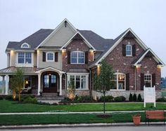 Image result for brick and siding two story house Roof accents on porch above the front door