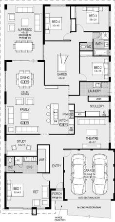 Take off garage and first bedroom then change study to bed and theater to study