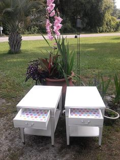Two Vintage Shabbied White End Tables by RightUpMyAlleyDesign, $275.00  SOLD