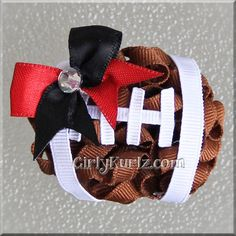 MINI Football Kurly Pom Pom Hair Bows by GirlyKurlz.com ~ matches our larger version, PERFECT for Big Sis / Lil Sis!