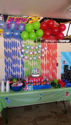 Decor for PJ Masks Birthday Party Fourth Birthday, 4th Birthday Parties, Birthday Fun, Pj Masks Birthday Cake, Birthday Ideas, Pjmask Party, Party Time, Party Ideas, Fete Emma