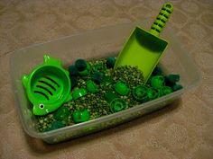 Teacher Turned Momma: Tot School: Green Week -  peas as a sensory activity