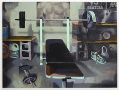 Matt Bollinger James' Weight Room, 2017 Flashe and acrylic on canvas, 48 x 60 inches Bleach Bottle, Kansas City Art Institute, Animation Process, Fra Angelico, Tumblr, Museum Exhibition, The New Yorker, Stop Motion, Figure Painting