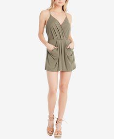 7fcb49847ec Jessica Simpson Rosedale Wrap-Front Romper Juniors - Shorts - Macy s