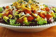 Southwestern Ranch Salad. We love this as a light summer-y meal. We've also added a Cafe Rio style chicken to it before and it was delicious!