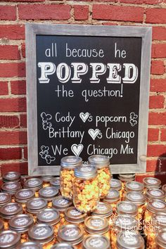 Brittany + Cody's adorable popcorn favors. Plus you can't go wrong with @Garrett's Popcorn! #Wedding #Popcorn #Favor