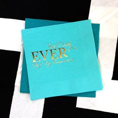 In honor of our 10 Year Anniversary, we are looking at some of our best trends over the years, like calligraphic typefaces. Click here to start designing your custom cocktail napkins http://www.foryourparty.com/products/editor/8241 $32 for 100