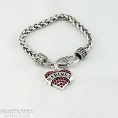 MARINE RED RHINESTONE HEART CHARM BRACELET HEART TOGGLE CLASP #SemperFi #USMilitary www.SuzePlace.com