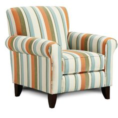 "Tangerine 37"" Striped Upholstered Accent Chair"