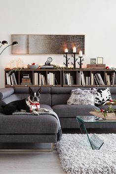 A shaggy rug along with relaxed throws for snuggling complement the minimalist holiday decorations in this modern yet luxurious living room - the perfect space for entertaining your holiday guests.   Products Featured: Zeke Linen-Look Sectional, Barrister Lane Wide Bookcases, Callina Glass Coffee Table, Alpaca Area Rug, Black 3-Light Arc Floor Lamp #homedecoraccessories