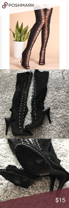 Thigh high boots Black sexy thigh high boots wear and tear on the bottom Breckelles Shoes Heels