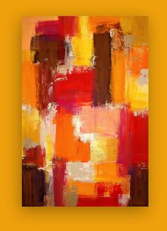 """Art Acrylic Abstract Painting Original Art on Gallery Canvas by Ora Birenbaum Titled: Warmth of the Day 24x36x1.5"""""""