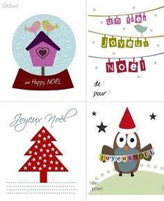 Cartes / étiquettes cadeau de NOEL à imprimer - Happiness le blog by Gédane