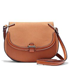 Cognac Saddle Crossbody Bag #zulily #zulilyfinds