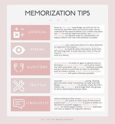 Educational infographic : UNIVERCITYBLR: memorization tips for different types of learners / [click High School Hacks, Life Hacks For School, School Study Tips, College Hacks, College Study Tips, Study Tips For Exams, College School, Law School, Studying For Exams