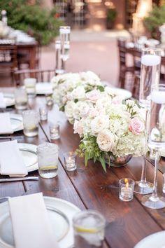 chic pink and white wedding centerpiece