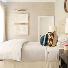 Cream and Brown Bedroom with Light Taupe Grasscloth