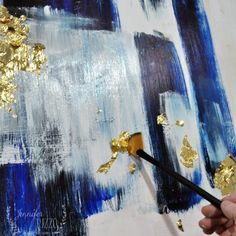 Adding gold leaf to abstract art. #goldleafing #acrylicpainting