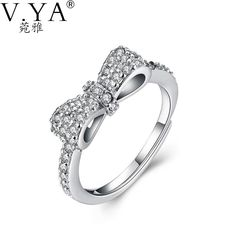 a7da2fff3 100% 925 Sterling Silver Ring Bow AAA Crystal S925 Solid Silver Rings for  Women Jewelry