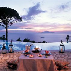 View from the Infinity Pool at the Caesar Augustus Hotel in Anacapri, Isle of Capri, Italy.