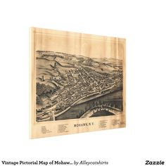 Vintage Pictorial Map of Mohawk New York (1893) Canvas Print
