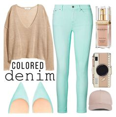 """Colored Denim: Mint"" by minchu ❤ liked on Polyvore featuring Ralph Lauren, H&M, Christian Louboutin, Kate Spade and Elizabeth Arden"