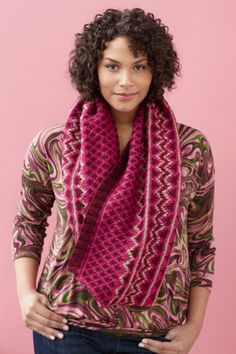 Treat yourself with this Fair Isle styled knit cowl made with Vanna's Choice.