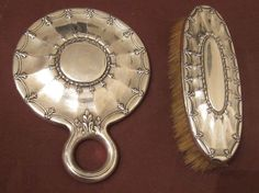 Antique 19th Century Tiffany Co Sterling Silver Vanity Hand Mirror Brush Set | eBay