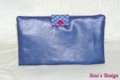 Portefeuille, Portecarte, Portechéquier, Porte-monnaie un accessoire 4 en 1 Bleu et prune