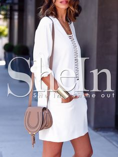 00be1a3d3886c2 SHEIN offers White Long Sleeve Pockets Dress   more to fit your fashionable  needs.