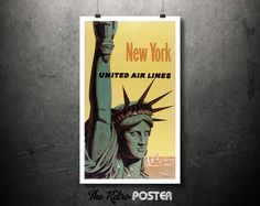 1950s New York - United Air Lines Vintage Poster - Statue of Liberty - Artist: Stan Galli // High Quality Fine Art Reproduction Giclée Print by TheRetroPoster on Etsy