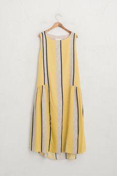 Stripe Coloured Sleeveless Dress, Yellow, 100% Cotton