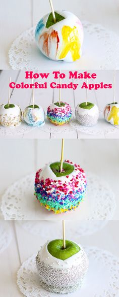 Vegan Colorful Candy Apples - Impressionist-painting style! Very easy snack / dessert to make, perfect for entertaining kids.