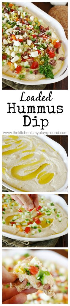 Loaded Hummus Dip ~ Entertain with ease with a platter of this delicious dip ... easy & always a hit! Perfect for any party. www.thekitchenism...