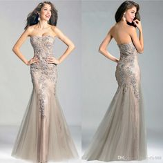 Grey Long Mermaid Mother Of The Bride Dresses Sweetheart Applique Lace Formal…